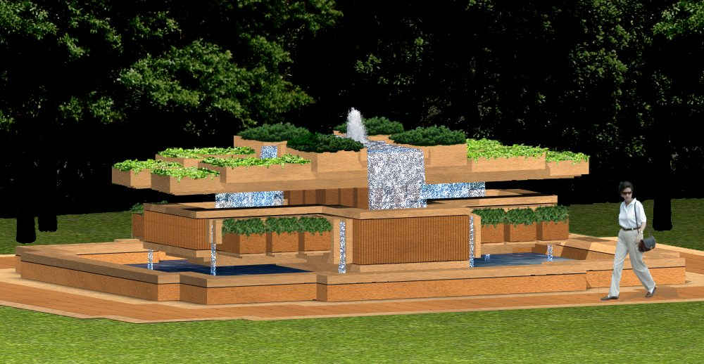 This fountain incorporates landscape and water with architectural elements